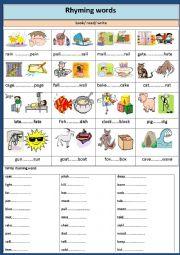 English Worksheet:  Phonetics : Rhyming words.