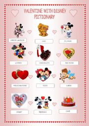 English Worksheet: Valentine with Disney -pictionary