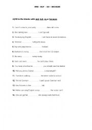 English Worksheet: and,but,so,because
