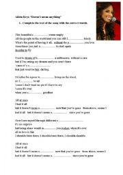 English Worksheet: Alicia Keys