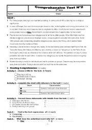 English Worksheet: Full term test n°2 9th form