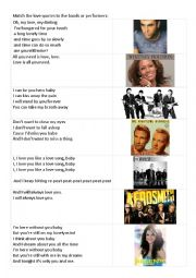 English Worksheet: Valentine´s Day Worksheet with quotes from songs about love