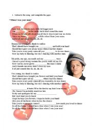 English Worksheet: When I was your man - Bruno Mars Song