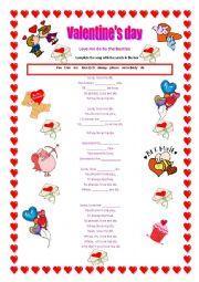 English Worksheet: Love me do- Valentine´s song