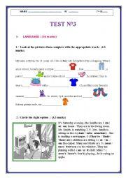 English Worksheet: MID TERM TEST N°2 / 7 th form
