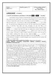 English Worksheet: test for 2 nd form tunisian pupils