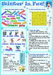 English Worksheet: Winter Is Fun!