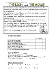 english worksheets fable the lion and the mouse. Black Bedroom Furniture Sets. Home Design Ideas