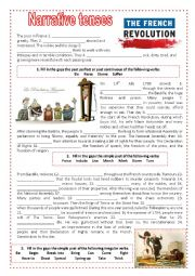 English Worksheet: Narrative tenses and The French Revolution