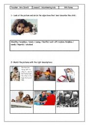 English worksheet: lesson 2 Module 6 Volunteering kids