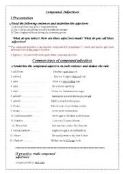 English Worksheet:  common types of compound adjectives