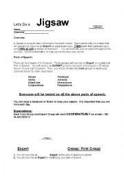 English Worksheet: Let�s Do a Jigsaw