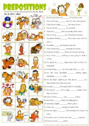 verbs  + Preposition with Garfield