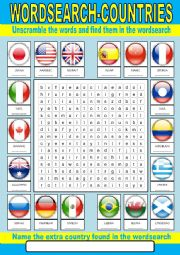 English Worksheet: Countries wordsearch
