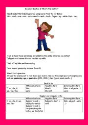 English Worksheet: module 3 section 2 what´s the matter? ( part 1)