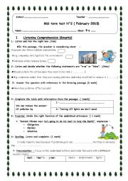 English Worksheet: 9th form mid-term test 2 about pollution