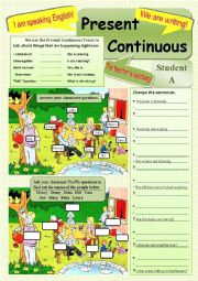 English Worksheet: PRESENT CONTINUOUS - Worksheet, Talking activity, Lesson Plan