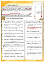 English Worksheet: Telling the temperature