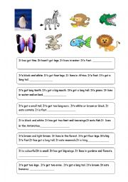English Worksheet: ANIMAL RIDDLES-1 (Descriptions of 24 animals)