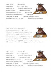 English Worksheet: Gruffalo - Possessive Pronouns