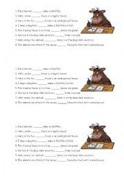 English Worksheet: Gruffalo - Possessive Pronouns