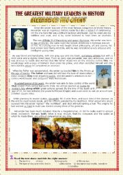 English Worksheet: Great Military Leaders in History: Alixander the Great