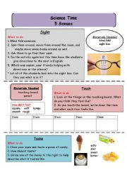 English Worksheet: The Five Sense Touch, sight, taste