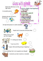 English Worksheet: idioms with animals