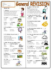 English Worksheet: 7th grade revision