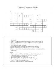 English Worksheet: YLE Cambridge Movers Vocabulary crossword
