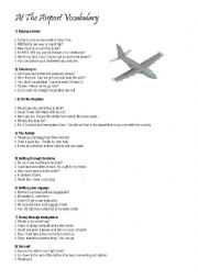 English Worksheet: At the Airport Vocabulary