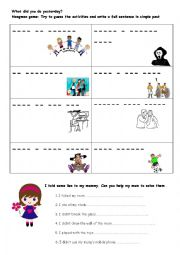 English Worksheet: what did you do yesterday