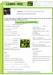 English Worksheet: Present Continuous-Listening activity-song