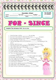 English Worksheet: for since 2