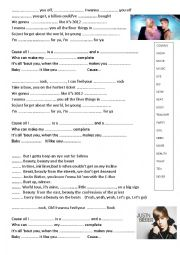 English Worksheet: JUSTIN BIEBER  BEAUTY AND THE BEAT