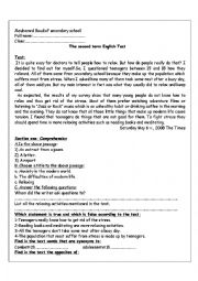 English Worksheet: 2nd term test of English (survey)