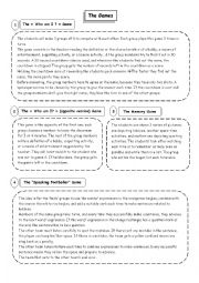 English Worksheet: Demonstration lesson:Speaking & Writing through Games & Visuals   8th form (part 2: The Games Instructions)  Entertainment