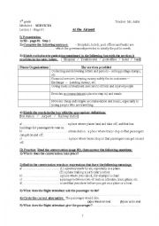 English Worksheet: At the Airport . Lesson 1, Module 4, 9th grade