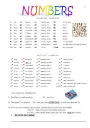 English Worksheet: Ordinal and Cardinal Numbers