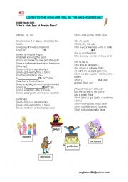 English Worksheet: song::