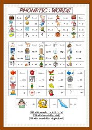 English Worksheet: Words(CVC,Blends,Sounds)