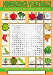 English Worksheet: Vegetables Wordsearch