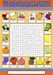 English Worksheet: Fruit Wordsearch