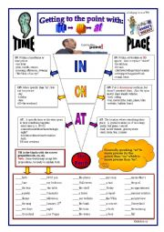 English worksheet: Prepositions: In,On, At (place and time)