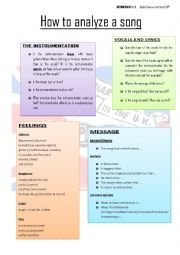 english worksheets how to analyze a song. Black Bedroom Furniture Sets. Home Design Ideas