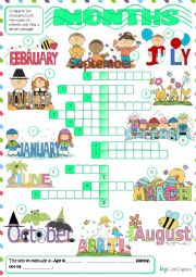 English Worksheet: Months - crossword