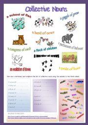 English Worksheet: Collective Nouns- ANIMALS