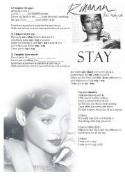 English Worksheet: Rihanna - Stay