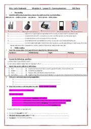 English Worksheet: module 4 lesson 5 Communication