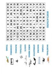 English Worksheet: Sports activities wordsearch